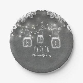 Lace Mason Jar Lights Rustic Chalkboard Barn Paper Plate