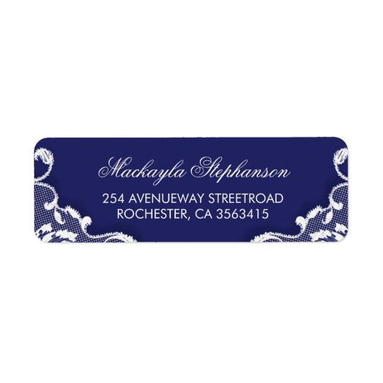 Lace Navy Vintage Wedding Return Address Label