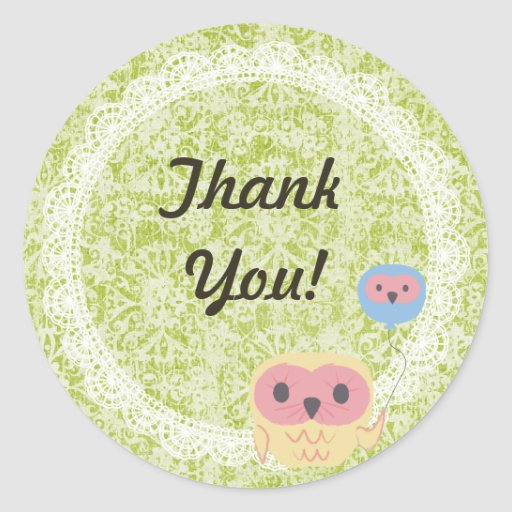 Lace Owl Wedding Thank You Sticker