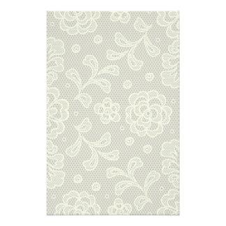 Lace pattern, flower vintage 6 custom stationery