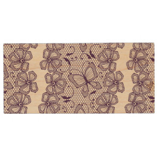 Lace pattern with butterflies wood USB 2.0 flash drive