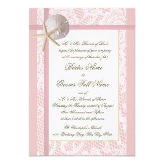 Lace Pink Beach Wedding Card