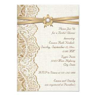 Lace, ribbon flower & burlap wedding bridal shower 13 cm x 18 cm invitation card