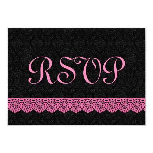 Lace RSVP Response Card V16 PINK and BLACK