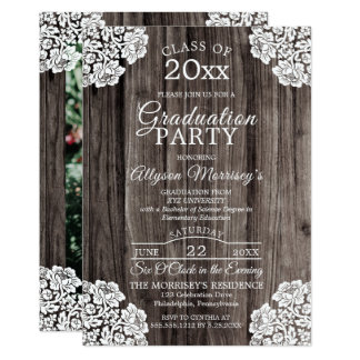 Lace   Rustic Wood Photo College Graduation Party Card