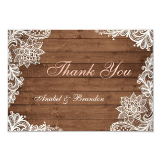 Lace Rustic Wood Thank You Card