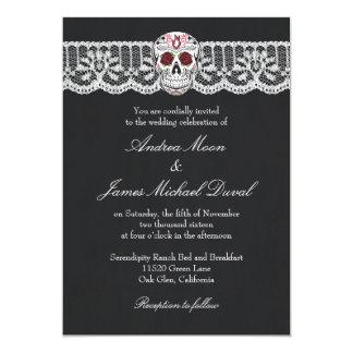 Lace Sugar Skull Chalkboard Wedding Invitations