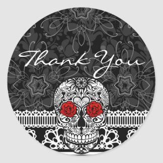Lace Sugar Skull Day of the Dead Thank You Round Sticker