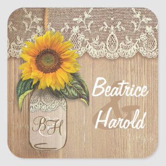 Lace Sunflower Wood and Mason Jar Rustic Square Sticker