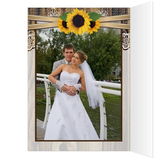 Lace, sunflowers and wood wedding Thank You Card