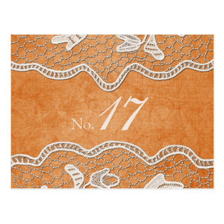 Lace Texture on Orange Tangerine Table Number Card Postcard