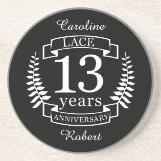 Lace Traditional wedding anniversary 13 years Coaster