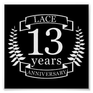 Lace Traditional wedding anniversary 13 years Poster