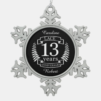 Lace Traditional wedding anniversary 13 years Snowflake Pewter Christmas Ornament
