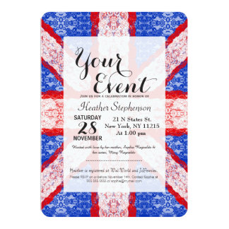 Lace Union Jack England Flag in Red, White, Blue 13 Cm X 18 Cm Invitation Card