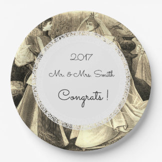 Lace-Vintage-Wedding-Sepia-Engagement_Template 9 Inch Paper Plate