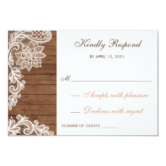 Lace Wood Rustic Respond RSVP Card Wedding