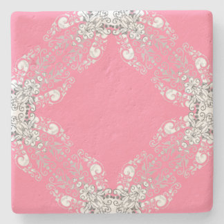 Lace-Wreath-Pink-Accent-Coasters Stone Coaster