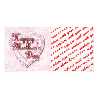 Laced Heart (On Pink) for Mother's Day Photo Greeting Card