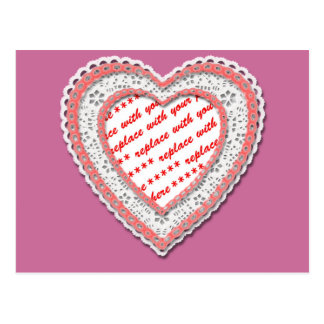 Laced Heart Shaped Photo Frame Postcard