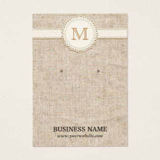 Laced Monogram Burlap Earring Display Cards