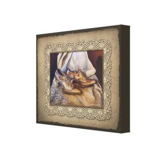Laces and Lace Vintage Wedding Shoes Canvas Print