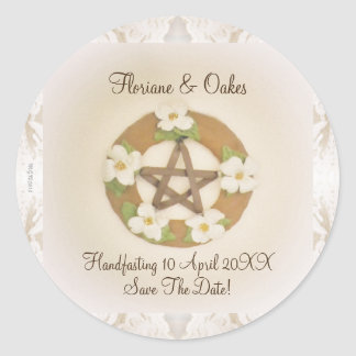 Lacey Dogwood Pentacle Handfasting Classic Round Sticker
