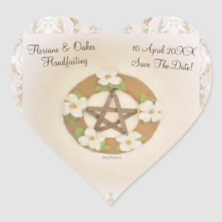 Lacey Dogwood Pentacle Handfasting Heart Sticker
