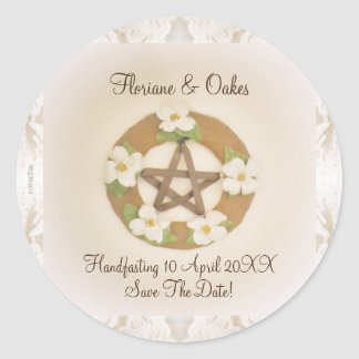 Lacey Dogwood Pentacle Handfasting Round Sticker
