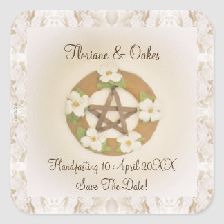 Lacey Dogwood Pentacle Handfasting Square Sticker