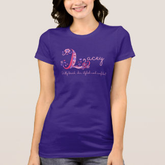 Lacey girls L name meaning monogram tee