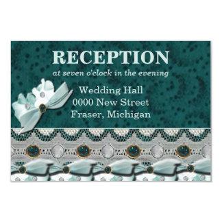 Lacey Steel Teal Gems Wedding Reception Card