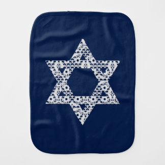 Lacey White Star of David Baby Burp Cloth