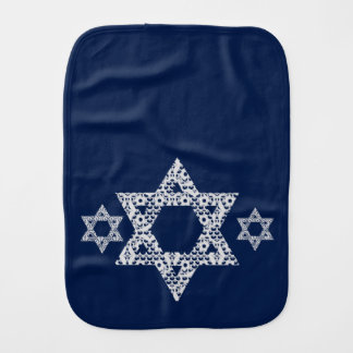 Lacey White Star of David Baby Burp Cloths