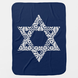 Lacey White Star of David Swaddle Blankets