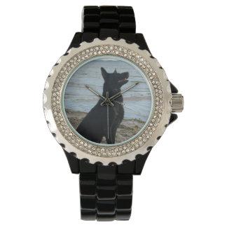 Lacquer Black German Shepherd at the Beach Wrist Watch