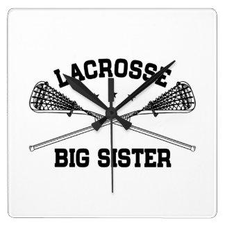 Lacrosse Big Sister Square Wall Clock