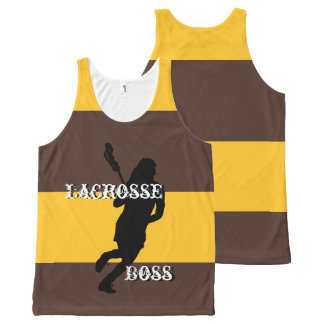 Lacrosse Boss F Brown and Gold Striped All-Over Print Singlet
