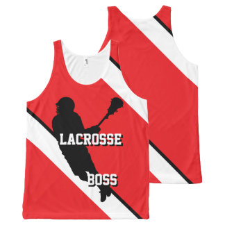 Lacrosse Boss M Red White and Black Striped All-Over Print Singlet
