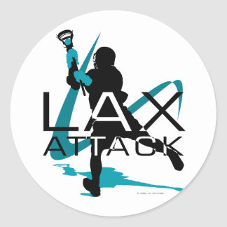 Lacrosse Boys LAX Attack Aqua Classic Round Sticker
