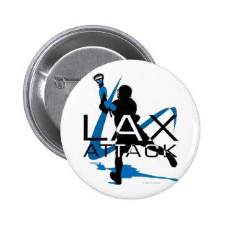 Lacrosse Boys LAX Attack Blue 6 Cm Round Badge