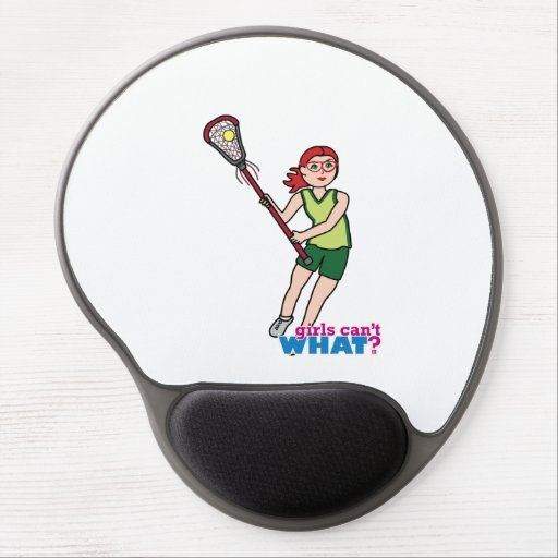 Lacrosse Girl - Light/Red Gel Mouse Pads