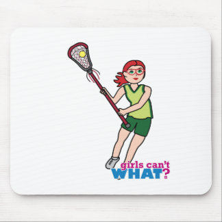 Lacrosse Girl - Light/Red Mouse Pad