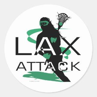 Lacrosse Girls LAX Attack Green Classic Round Sticker