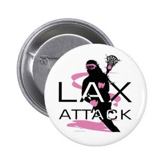 Lacrosse Girls LAX Attack Pink 6 Cm Round Badge