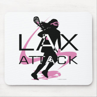 Lacrosse Girls LAX Attack Pink Mouse Pad