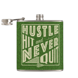 Lacrosse Hustle Hit & Never Quit Hip Flask