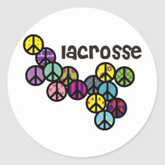 Lacrosse Peace Signs Filled Round Sticker