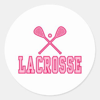 Lacrosse Pink Round Sticker