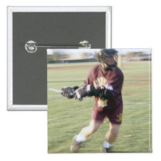Lacrosse Player 2 15 Cm Square Badge